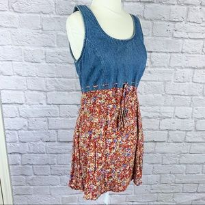 Vintage Red Floral Denim Tank Dress